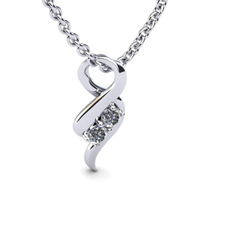 1/4 Carat Two Stone Two Diamond Intertwined Necklace In 14K White Gold