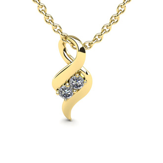 1/4 Carat Two Stone Two Diamond Intertwined Necklace In 14K Yellow Gold