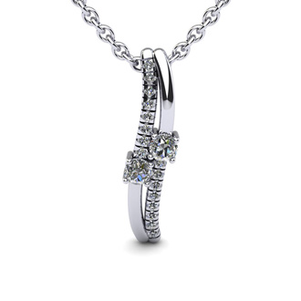 1/3 Carat Two Stone Two Diamond Curve Necklace In 14K White Gold