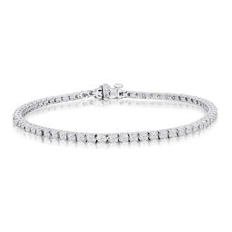 3 1/2 Carat Diamond Tennis Bracelet In 14 Karat White Gold, 8 Inches