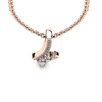 1/3 Carat Two Stone Two Diamond Pendant Necklace In 14K Rose Gold