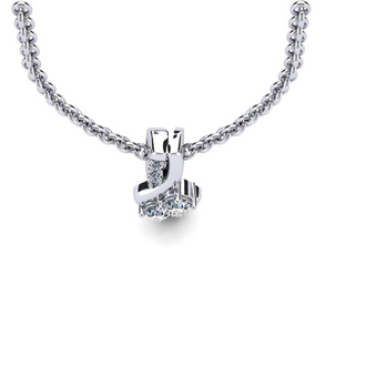 1/4 Carat Two Stone Two Diamond Knot Necklace In 14K White Gold