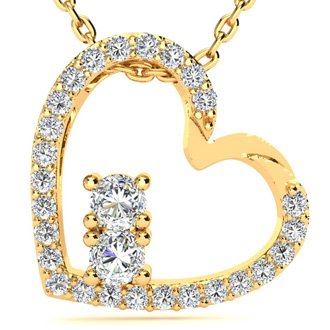 1/2 Carat Two Stone Two Diamond Heart Necklace In 14K Yellow Gold