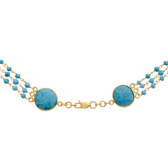 86 Carat Turquoise Triple Strand & Beaded Necklace in 14K Yellow Gold Over Sterling Silver, 26 Inches