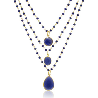 93 Carat Sapphire Quartz Triple Strand Beaded Necklace in 14K Gold Over Silver