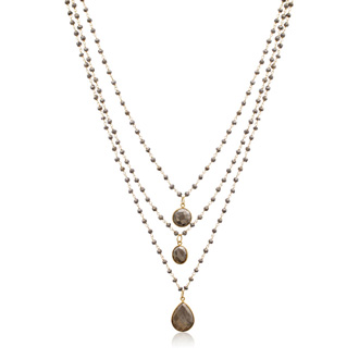 138 Carat Pyrite Triple Strand Beaded Necklace In 14K Yellow Gold Over Sterling Silver, 26 Inches