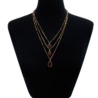 24 Carat Pink Tourmaline Triple Strand Beaded Necklace In 14K Yellow Gold Over Sterling Silver, 26 Inches