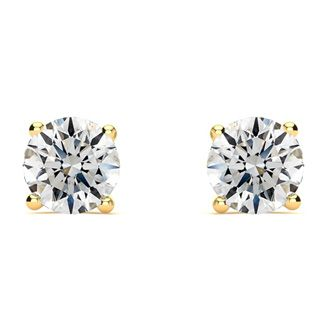 1 1/2ct Round Diamond Stud Earrings Set in 14K Yellow Gold