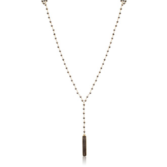 58 Carat Pyrite Y Bar Strand Necklace In 14K Yellow Gold Over Sterling Silver, 36 Inches