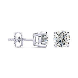 1 3/4ct Round Diamond Stud Earrings Set in 14k White Gold