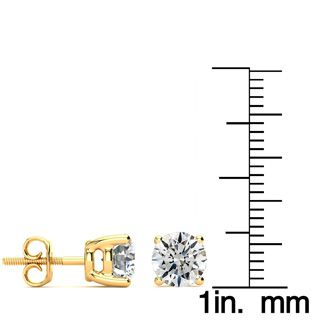 1 3/4ct Round Diamond Stud Earrings Set in 14k Yellow Gold