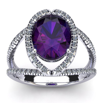 3 Carat Oval Shape Amethyst and Halo Diamond Ring In 14 Karat White Gold