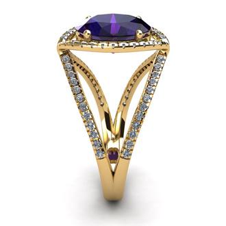 3 Carat Oval Shape Amethyst and Halo Diamond Ring In 14 Karat Yellow Gold