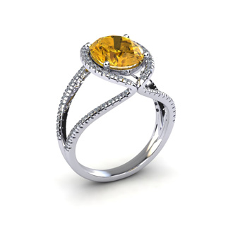 3 Carat Oval Shape Citrine and Halo Diamond Ring In 14 Karat White Gold