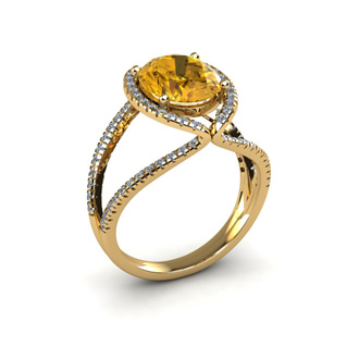 3 Carat Oval Shape Citrine and Halo Diamond Ring In 14 Karat Yellow Gold