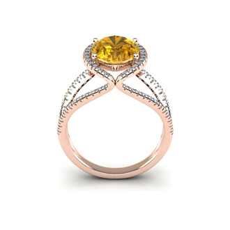 3 Carat Oval Shape Citrine and Halo Diamond Ring In 14 Karat Rose Gold