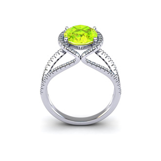 3 Carat Oval Shape Peridot and Halo Diamond Ring In 14 Karat White Gold