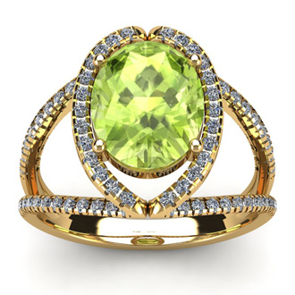 3 Carat Oval Shape Peridot and Halo Diamond Ring In 14 Karat Yellow Gold