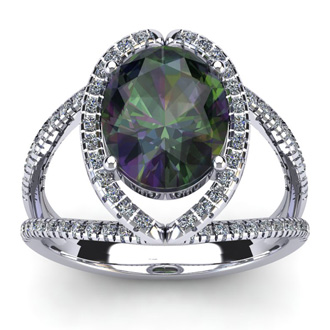 3 Carat Oval Shape Mystic Topaz and Halo Diamond Ring In 14 Karat White Gold