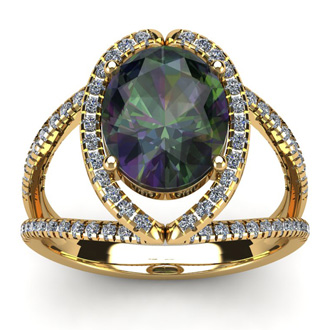 3 Carat Oval Shape Mystic Topaz and Halo Diamond Ring In 14 Karat Yellow Gold