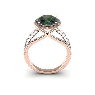 3 Carat Oval Shape Mystic Topaz and Halo Diamond Ring In 14 Karat Rose Gold