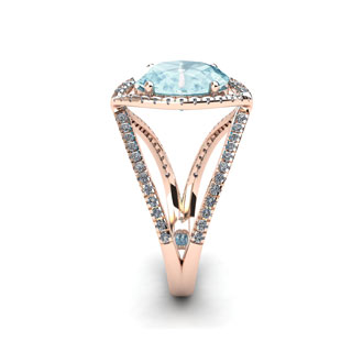2 3/4 Carat Oval Shape Aquamarine and Halo Diamond Ring In 14 Karat Rose Gold