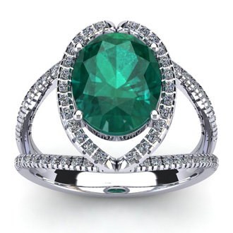 2 3/4 Carat Oval Shape Emerald and Halo Diamond Ring In 14 Karat White Gold