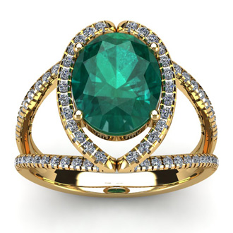 2 3/4 Carat Oval Shape Emerald and Halo Diamond Ring In 14 Karat Yellow Gold