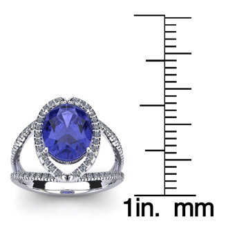 3 Carat Oval Shape Tanzanite and Halo Diamond Ring In 14 Karat White Gold