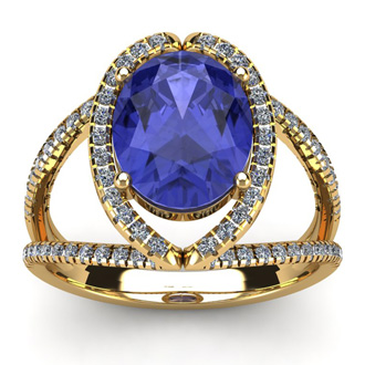 3 Carat Oval Shape Tanzanite and Halo Diamond Ring In 14 Karat Yellow Gold