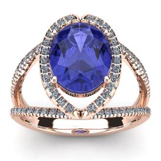 3 Carat Oval Shape Tanzanite and Halo Diamond Ring In 14 Karat Rose Gold
