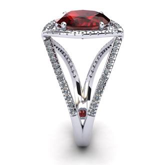3 1/2 Carat Oval Shape Garnet and Halo Diamond Ring In 14 Karat White Gold