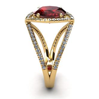 3 1/2 Carat Oval Shape Garnet and Halo Diamond Ring In 14 Karat Yellow Gold