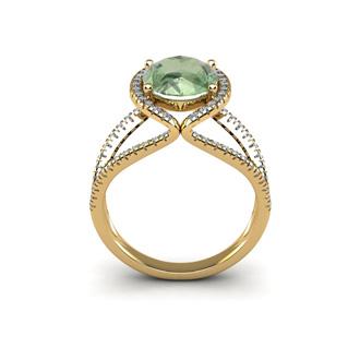 3 Carat Oval Shape Green Amethyst and Halo Diamond Ring In 14 Karat Yellow Gold