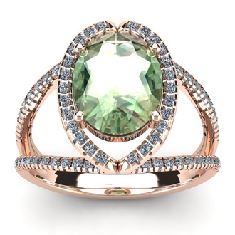 3 Carat Oval Shape Green Amethyst and Halo Diamond Ring In 14 Karat Rose Gold