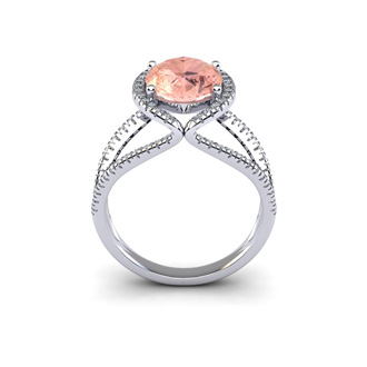 2 3/4 Carat Oval Shape Morganite and Halo Diamond Ring In 14 Karat White Gold