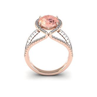2 3/4 Carat Oval Shape Morganite and Halo Diamond Ring In 14 Karat Rose Gold