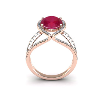 3 1/2 Carat Oval Shape Ruby and Halo Diamond Ring In 14 Karat Rose Gold