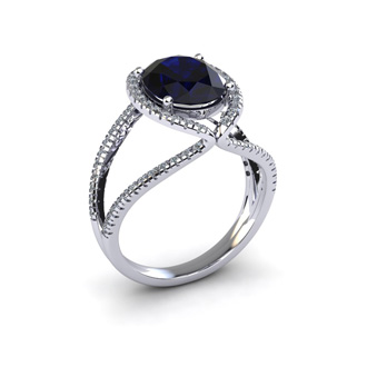 3 1/2 Carat Oval Shape Sapphire and Halo Diamond Ring In 14 Karat White Gold