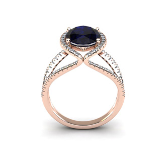 3 1/2 Carat Oval Shape Sapphire and Halo Diamond Ring In 14 Karat Rose Gold