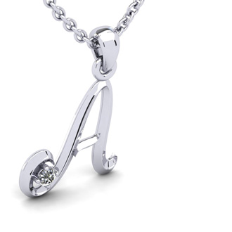Diamond Accent A Swirly Initial Necklace In White Gold With Free 18 Inch Cable Chain