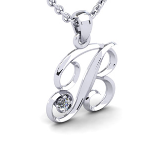 Diamond Accent B Swirly Initial Necklace In White Gold With Free 18 Inch Cable Chain