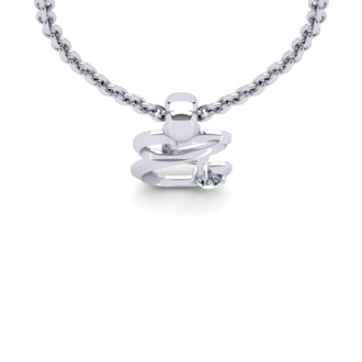 Diamond Accent E Swirly Initial Necklace In White Gold With Free 18 Inch Cable Chain