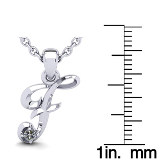 Diamond Accent F Swirly Initial Necklace In White Gold With Free 18 Inch Cable Chain