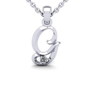 Diamond Accent G Swirly Initial Necklace In White Gold With Free 18 Inch Cable Chain