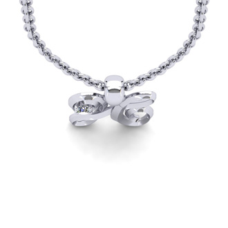 Diamond Accent H Swirly Initial Necklace In White Gold With Free 18 Inch Cable Chain