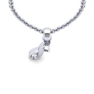 Diamond Accent I Swirly Initial Necklace In White Gold With Free 18 Inch Cable Chain