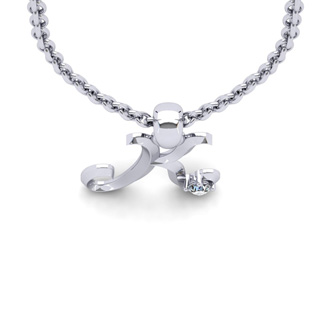 Diamond Accent K Swirly Initial Necklace In White Gold With Free 18 Inch Cable Chain