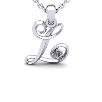 Diamond Accent L Swirly Initial Necklace In White Gold With Free 18 Inch Cable Chain