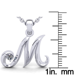 Diamond Accent M Swirly Initial Necklace In White Gold With Free 18 Inch Cable Chain